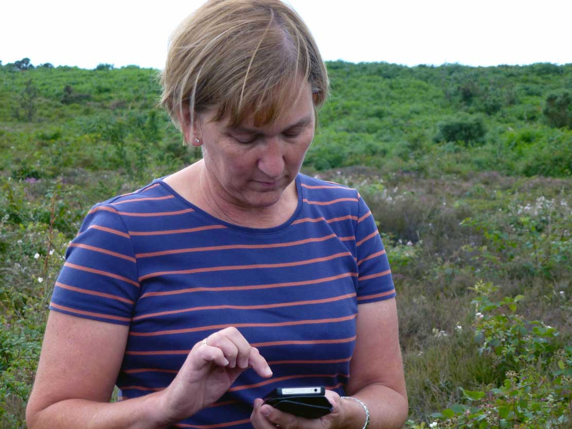 Using view ranger smartphone software to plan walk a route on forest tracks and paths