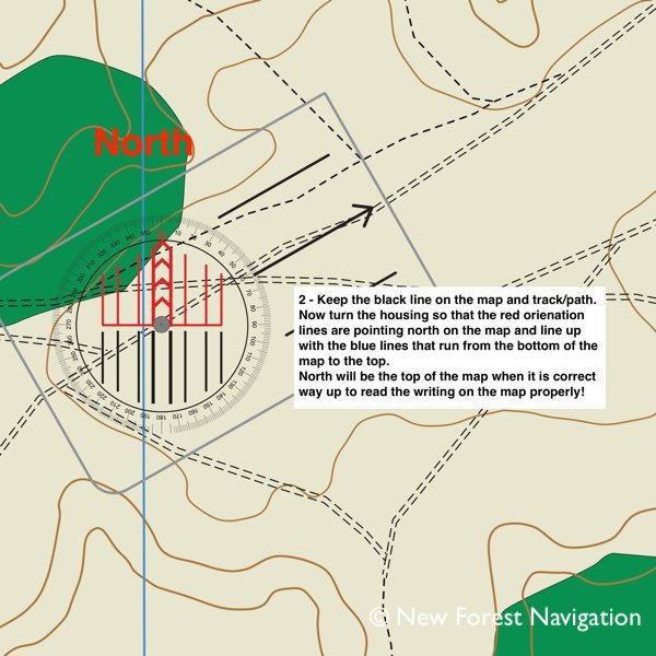 Step by step of how to use a compass stage two New Forest Navigation