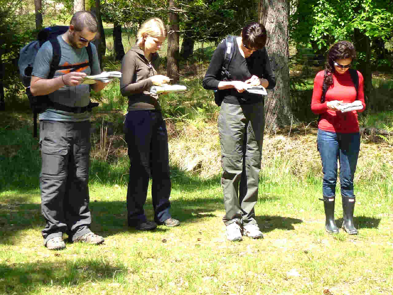 Members of a team enjoy a map reading course as a corporate activity in the New Forest