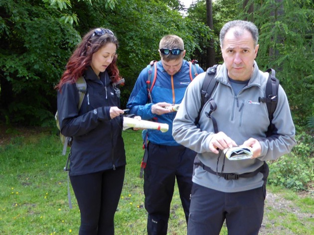 group learn how to relocate them selves using a compass if lost in the new forest