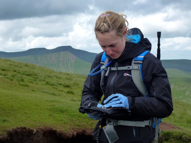 lady check location using aspect of slope in brecon beacons wales
