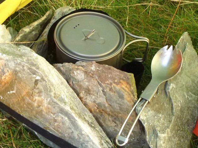close up shot of a camping mug on a dartmoor wild camping expedition